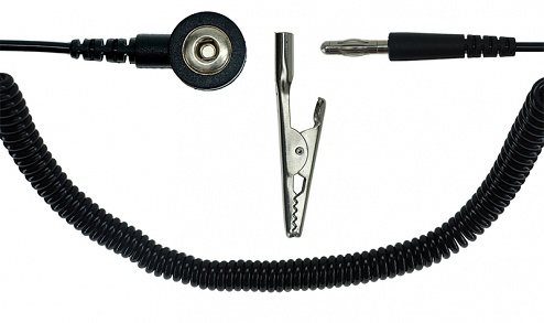 SAFEGUARD - SAFEGUARD ESD - ESD spiral cable,1 Mohm, black, 1,8 m, 3 mm snap fastener, banana plug, crocodile clip, WL24925