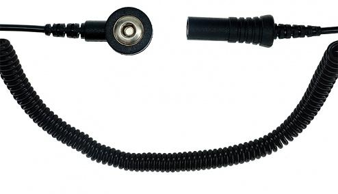 SAFEGUARD - SAFEGUARD ESD - ESD spiral cable, 1 Mohm, black, 2,4 m, 3 mm snap fastener, banana plug socket, WL42102