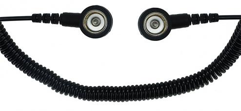 SAFEGUARD - SAFEGUARD ESD PRO - ESD spiral cable, 2 MOhm, black, 3.6 m, 10/10 mm push button, WL42428