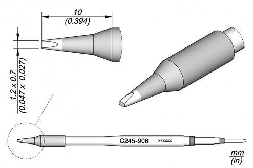 JBC - C245906 - Soldering tip chisel-shaped, 1.2 x 0.7 mm, WL19820