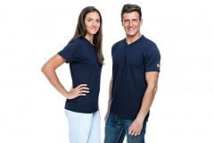 SAFEGUARD - SafeGuard PRO - ESD-T-Shirt, V-Neck, M, navy blue, WL37174