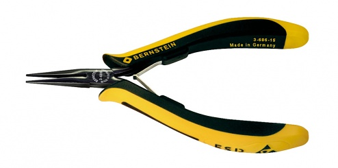 BERNSTEIN - 3-686-15 - EUROline ESD long nose pliers, extremely slimline, long jaws and with a fine serration, WL43192