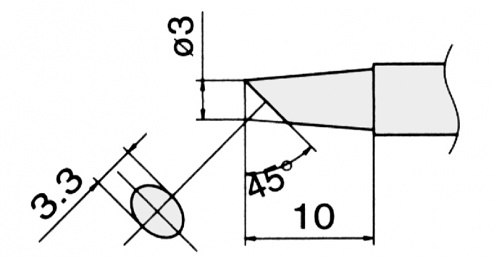 HAKKO - T12-BCF3 / T15-BCF3 - Soldering tip for FM-2027 / FM-2028, WL22950