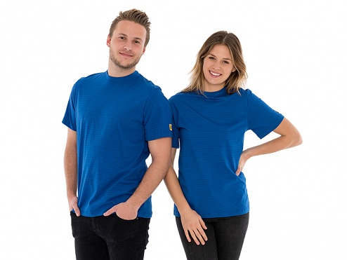SAFEGUARD - SafeGuard PRO - ESD-T-Shirt royalblue, round neck, S, WL42167