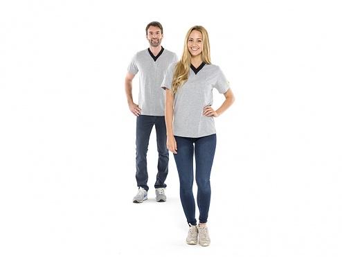 SAFEGUARD - SafeGuard ESD - ESD T-Shirt, V-Ausschnitt, grau, L, WL35275